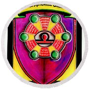 Mitchell-creehan Ancestral Healing Family Crest Round Beach Towel