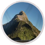 Round Beach Towel featuring the photograph Mitre Peak Rahotu by Gary Eason