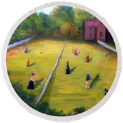 Round Beach Towel featuring the painting Mixed Doubles by Gail Kirtz