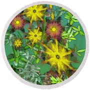 Mixed Flowers Round Beach Towel
