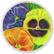 Mixed Pansy  Round Beach Towel