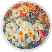 Mixed Poppies Round Beach Towel