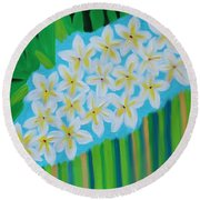 Mixed Up Plumaria Round Beach Towel