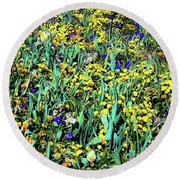 Mixed Wildflowers In Texas Round Beach Towel
