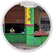 Mjay Fruit Stand Havana Cuba Round Beach Towel by Charles Harden
