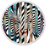 Mmother Of Pearl Sis 3 Round Beach Towel