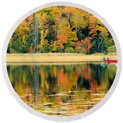 Mn Fall Fishing Round Beach Towel