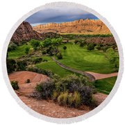 Moab Desert Canyon Golf Course At Sunrise Round Beach Towel by Gary Whitton