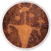 Moab Man Petroglyph Portrait - Utah Round Beach Towel