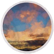 Moab Sunrise Abstract Painterly Round Beach Towel by David Gordon