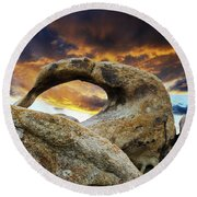 Round Beach Towel featuring the photograph Mobious Arch California 7 by Bob Christopher