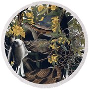 Mocking Birds And Rattlesnake Round Beach Towel by John James Audubon