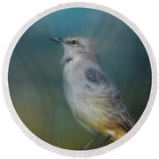 Mockingbird On A Windy Day Round Beach Towel by Jai Johnson