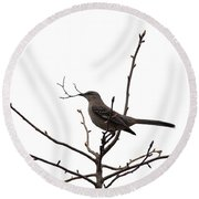 Mockingbird With Twig Round Beach Towel