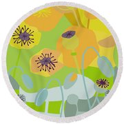 Mod Yellow Poppies Round Beach Towel