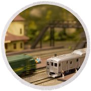 Model Trains Round Beach Towel