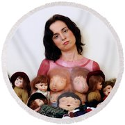 Model With Porcelain Dolls 2 Round Beach Towel