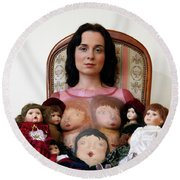 Model With Porcelain Dolls Round Beach Towel