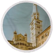 Round Beach Towel featuring the photograph Modena, Italy - Modena Cathedral by Mark Forte