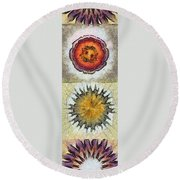 Moderated Symmetry Flowers  Id 16165-125858-48600 Round Beach Towel