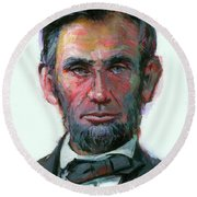 Round Beach Towel featuring the painting Modern Abe by Lesley Spanos