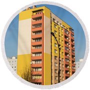 Round Beach Towel featuring the photograph Modern Apartment Buildings by Juli Scalzi