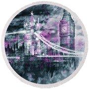 Round Beach Towel featuring the photograph Modern-art London Tower Bridge And Big Ben Composing  by Melanie Viola