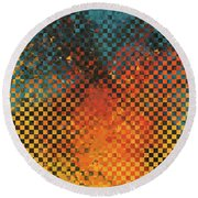 Round Beach Towel featuring the painting Modern Art - Pieces 14 - Sharon Cummings by Sharon Cummings