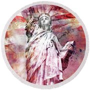Round Beach Towel featuring the photograph Modern-art Statue Of Liberty - Red by Melanie Viola
