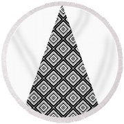 Modern Black And White Tree 1- Art By Linda Woods Round Beach Towel
