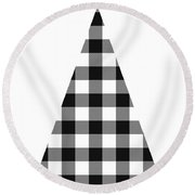 Modern Black And White Tree 2- Art By Linda Woods Round Beach Towel