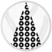 Modern Black And White Tree 4- Art By Linda Woods Round Beach Towel