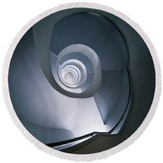 Round Beach Towel featuring the photograph Modern Blue Spiral Staircase by Jaroslaw Blaminsky