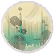 Modern City Abstract Round Beach Towel