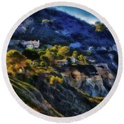 Modern Cliff Dwellers Round Beach Towel by Joseph Hollingsworth