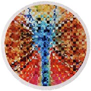 Round Beach Towel featuring the painting Modern Dragonfly Art - Pieces 6 - Sharon Cummings by Sharon Cummings