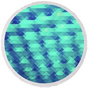 Modern Fashion Abstract Color Pattern In Blue   Green Round Beach Towel