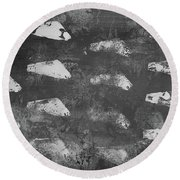Round Beach Towel featuring the painting Modern Fossil Grayscale by Robin Maria Pedrero