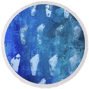 Round Beach Towel featuring the painting Modern Fossil by Robin Maria Pedrero