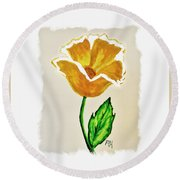 Modern Gold Flower Round Beach Towel by Marsha Heiken