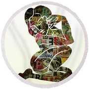 Modern Graffiti Girl Print Abstract Painting Art By Robert Erod Round Beach Towel