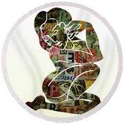 Modern Graffiti Girl Print Abstract Painting Art By Robert Erod Round Beach Towel
