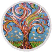 Modern Impasto Expressionist Painting  Round Beach Towel