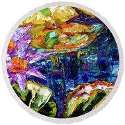 Modern Impressionist Lily Pond Reflections Round Beach Towel