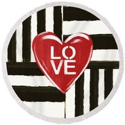 Modern Love- Art By Linda Woods Round Beach Towel