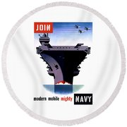 Modern Mobile Mighty Navy Round Beach Towel