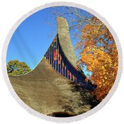 Modern New England Church In Fall Round Beach Towel
