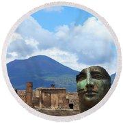 Modern Pompeii Art With Mount Vesuvius Round Beach Towel