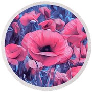 Modern Poppies Round Beach Towel