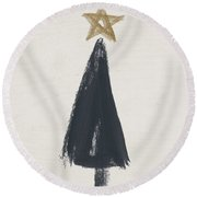 Modern Primitive Black And Gold Tree 3- Art By Linda Woods Round Beach Towel